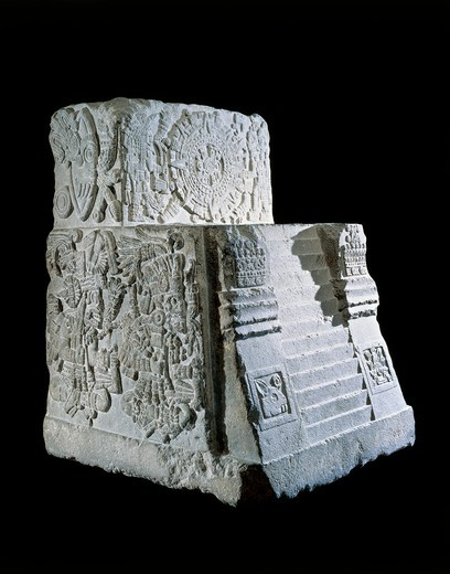 Temple Stone, known as the teocalli (temple) of the Sacred War : Stock Photo