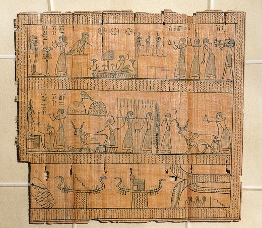 Book of the Dead on papyrus, Djedhor working in the fields of the Afterlife using irrigation canals : Stock Photo