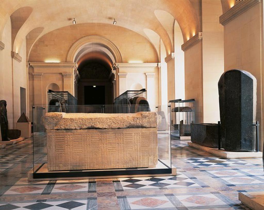 France, Paris. Louvre Museum, Sarcophagi Hall : Stock Photo