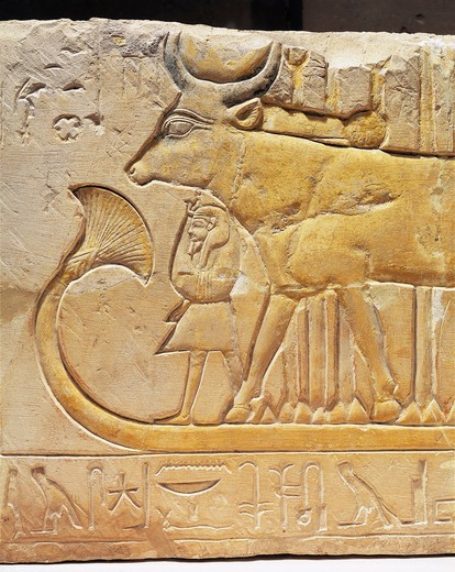 Stock Photo: 1788-19004 Limestone relief depicting Ramses II under the protection of cow-goddess Hathor from Egypt, West Thebes, Deir el-Medina