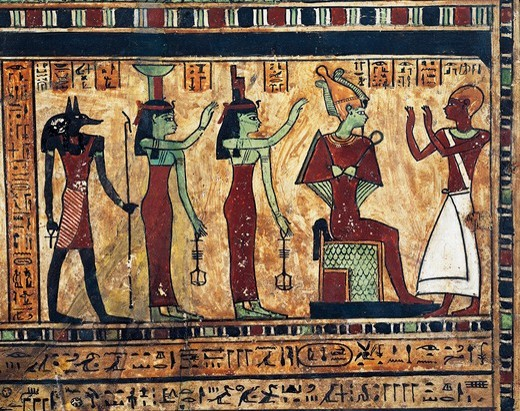 Painted wood stele of Usirur, priest of Amon at Thebes. Detail, the deceased before Osiris, Isis, Nephthys and Anubis : Stock Photo