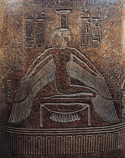 Granite sarcophagus of Ramses II from the Egypt, West Thebes, Valley of the Kings, detail, Isis : Stock Photo