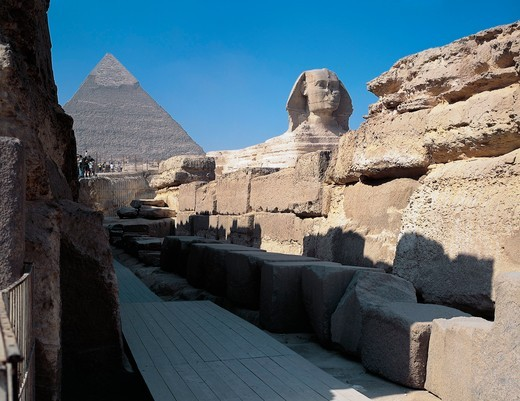 Stock Photo: 1788-19044 EgyptGiza, Pyramids at Giza. Great Sphinx and Pyramid of Chephren in the background