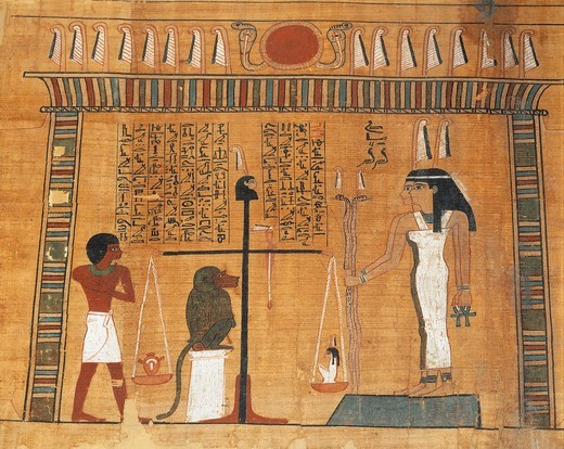 Papyrus of the Book of the Dead: the deceased on trial before the court of Osiris : Stock Photo