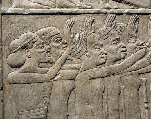 Stock Photo: 1788-19070 Relief depicting foreign princes paying homage to Tutankhamen. Relief. From the tomb of Haremhab, Egypt, Saqqara