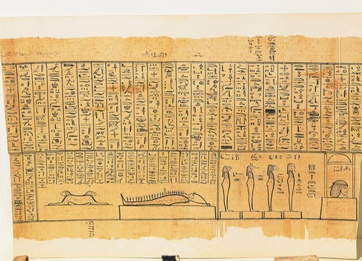 Stock Photo: 1788-19090 Jumilhac Papyrus: Treaty of mythological geography in cursive hieroglyphs detail with Osiris mummy