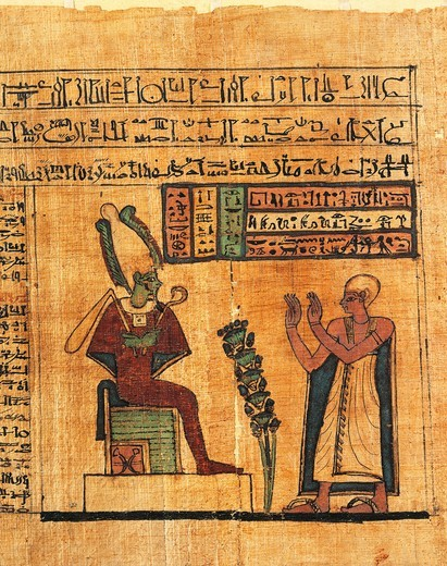 Papyrus from the First Book of Breathing of Ousirour, at the bottom, the deceased before Osiris : Stock Photo