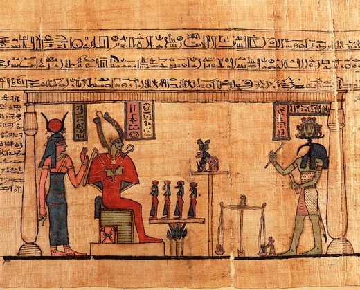 Papyrus from the First Book of Breathing of Ousirour, Thoth weighing soul of Ousirour before Isis and Osiris : Stock Photo