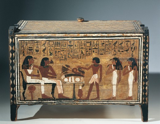 Stock Photo: 1788-19155 Kingdom of Amenhotep III - Painted wood laundry box which belonged to Perpaut, from Thebes