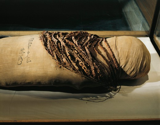 Stock Photo: 1788-19177 Mummy of Queen Merytamun, wife of Amenhotep, wrapped in linen bandages from the Valley of the Queens