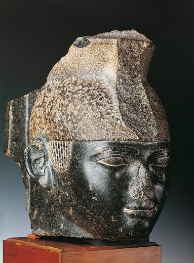 Head of King Taharka from Thebes : Stock Photo
