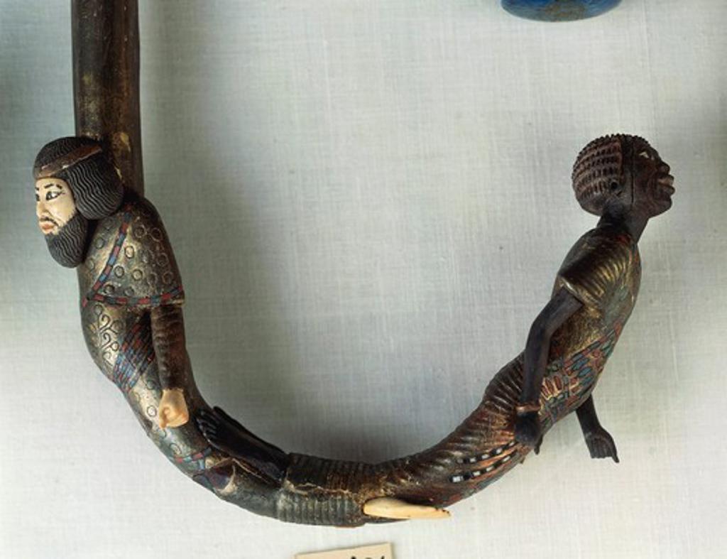 Handle of Tutankhamen's walking stick depicting two prisoners : Stock Photo
