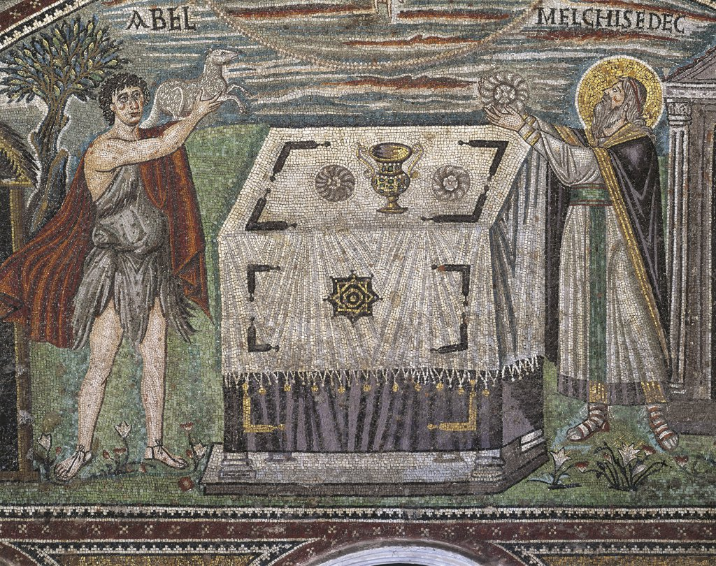 Stock Photo: 1788-1925 Italy - Emilia-Romagna Region - Ravenna. Basilica of St. Vitale, presbytery, left wall, central lunette. Scenes from Abraham's life: Abel and Melchizedek bringing their offerings to the altar (538-545 A.D.), mosaic