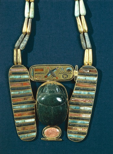 Treasure of Tanis, breastplate of Psusennes I in form of winged scarab : Stock Photo