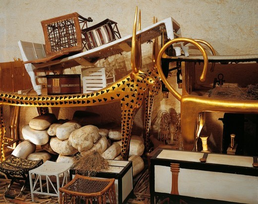 Replica of antechamber of tomb with parts of beds and furniture for eternity, from King Tutankhamen's tomb : Stock Photo