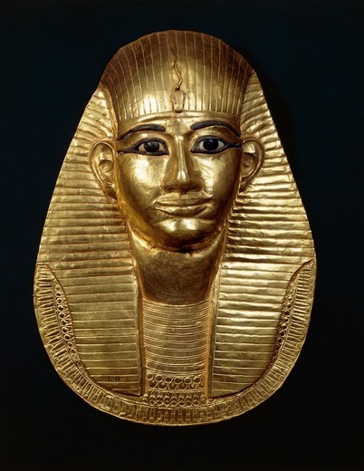 Treasure of Tanis, Gold mask of King Amenemope : Stock Photo