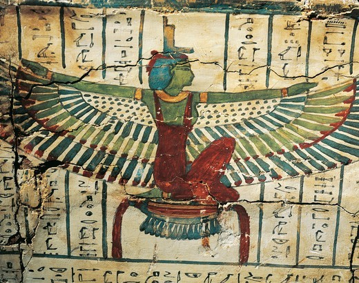 Painted, lacquered wood, depicting Goddess Isis with spread wings, on Sarcophagus of Cesraperet from West Thebes : Stock Photo