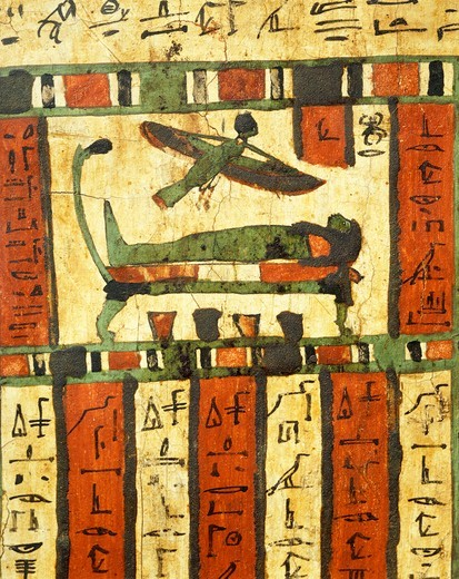 Stock Photo: 1788-19347 Plastered and painted wood depicting deceased on deathbed while soul, Ba, flies towards afterlife, from Sarcophagus of Tashakheper, Thebes