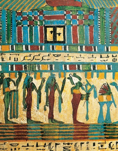 Plastered and painted wood panel detail with judgment chamber and god Osiris followed by divinities, from Sarcophagus of Usai, Thebes : Stock Photo