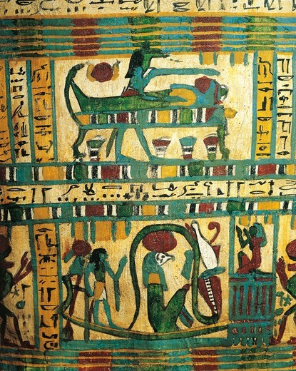 Plastered and painted wood depicting god Anubi protecting mummy of deceased and solar boat with god Ra, from Sarcophagus of Usai, Thebes : Stock Photo