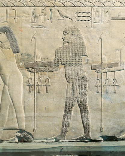 Stock Photo: 1788-19373 Relief depicting water divinity, from the funerary temple of Sahure at Abusir
