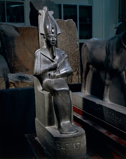 Schist statue of seated Osiris, from tomb of Psamtik at Saqqara : Stock Photo