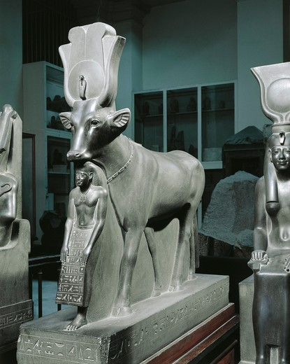 Group schist statue of Hathor and Psamtik, from Saqqara : Stock Photo