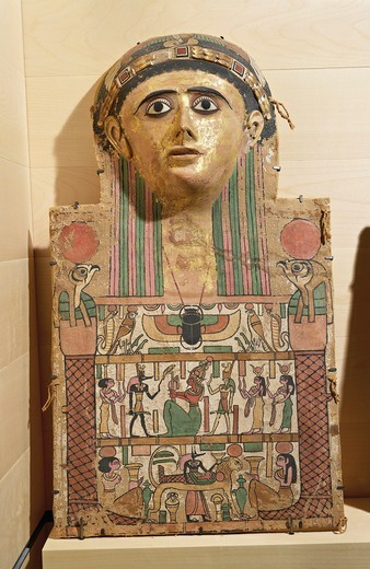 Plastered, painted and gilded linen cartonnage of mummy of Pebos, from Dayr al-Madinah : Stock Photo