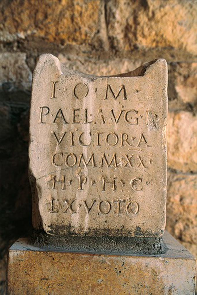 Stock Photo: 1788-19431 Spain, Catalonia, Tarragona, Inscribed slab