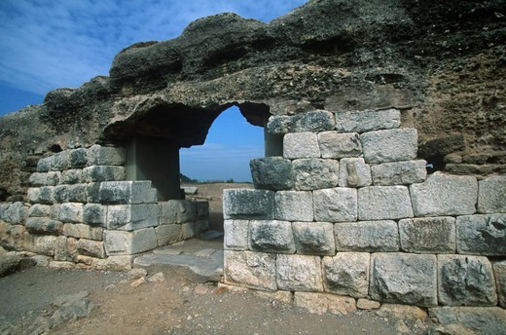 Spain, Catalonia, La Escala, Roman Ampurias, city walls : Stock Photo