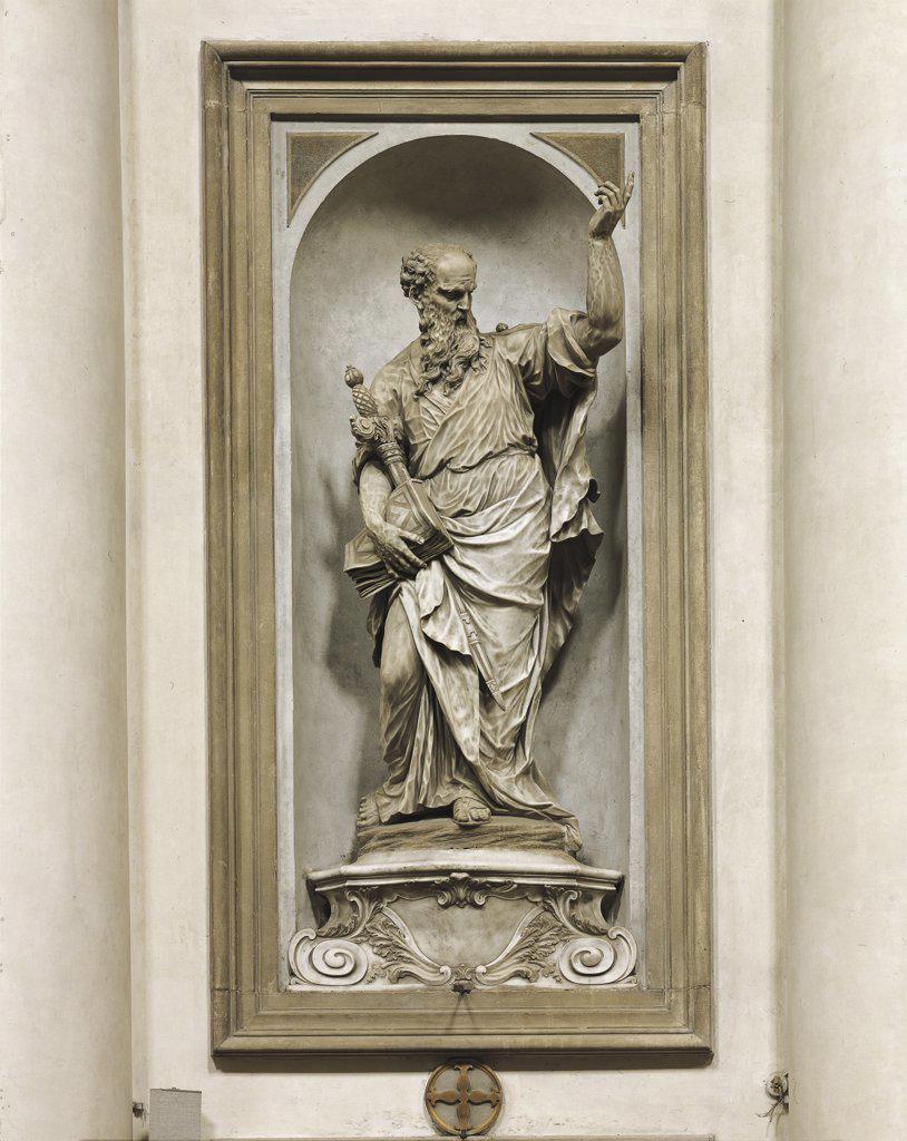 Italy - Veneto region - Venice. Church of the Gesuati (also called Santa Maria del Rosario) by Giovanni Maria Morlaiter (1699-1781). Statue of St. Paul (1738-55) : Stock Photo