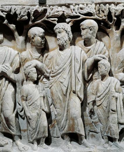 Stock Photo: 1788-19489 Marble sarcophagus, relief with scenes from Old and New Testament of Noah blessing his sons Sem and Japheth