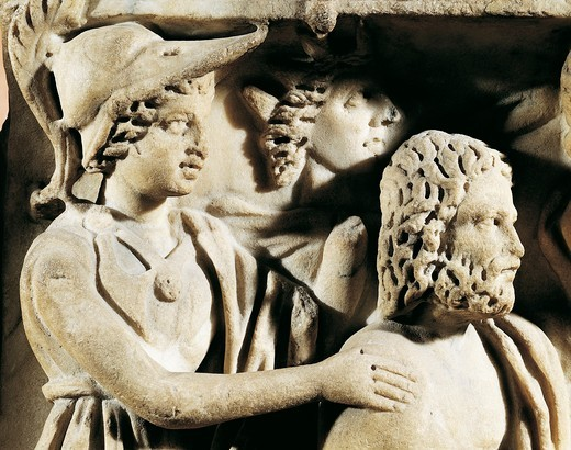 Stock Photo: 1788-19493 Marble sarcophagus, Relief depicting Prometheus myth, Detail, faces of Athena and Prometheus, From Arles