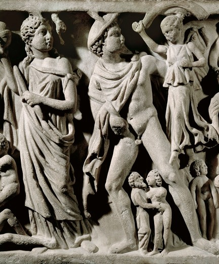 Marble sarcophagus, Relief depicting Prometheus myth, Detail, Hermes and one of the Parcae or Fates, From Arles : Stock Photo