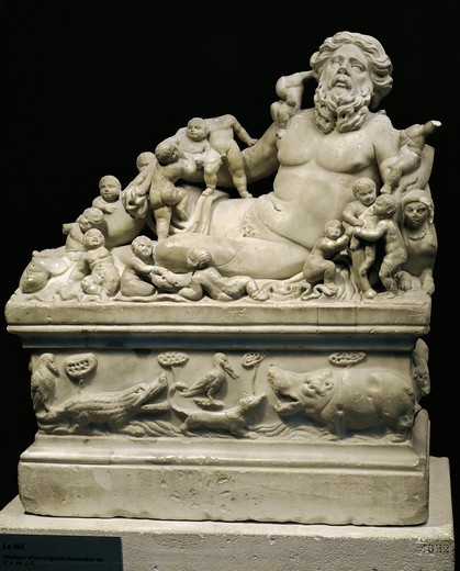 Marble statue representing Tiber River, Copy on smaller scale of statue (Rome, Vatican Museums) which was in its turn copy of Hellenistic (Alexandrine) original of 4th-1st century b.C. : Stock Photo