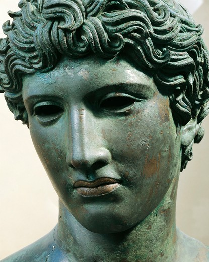 "Bronze head of young man, known as """"head from Benevento"""", Face detail, circa 50 b.C. : Stock Photo"