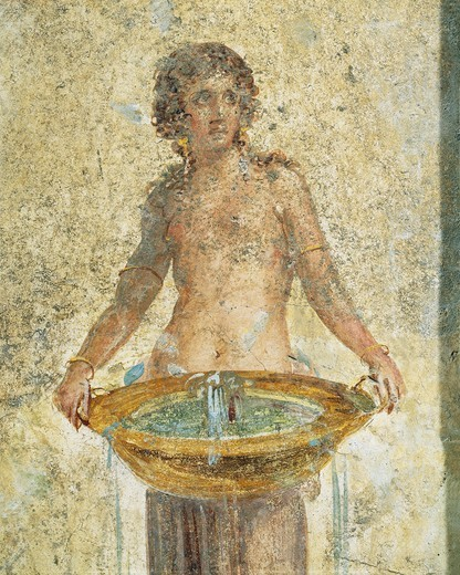 Stock Photo: 1788-19556 Woman carrying bucket of water, detail, from Pompei, Fresco
