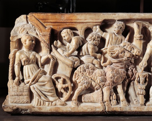 Front side of sarcophagus depicting mother watching her children play, Detail : Stock Photo