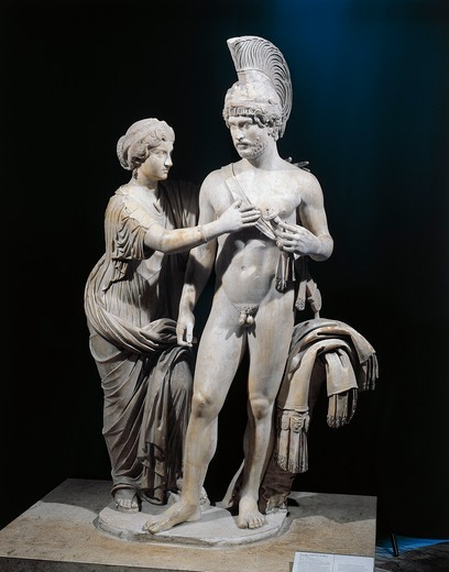 Marble imperial group statue of Hadrian and Sabina portrayed as Mars and Venus : Stock Photo