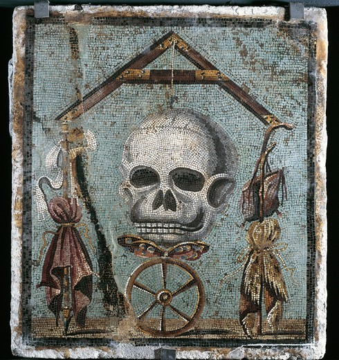 Second style opus vermiculatum mosaic on Memento mori with skull and plumb-rule, from Pompei : Stock Photo