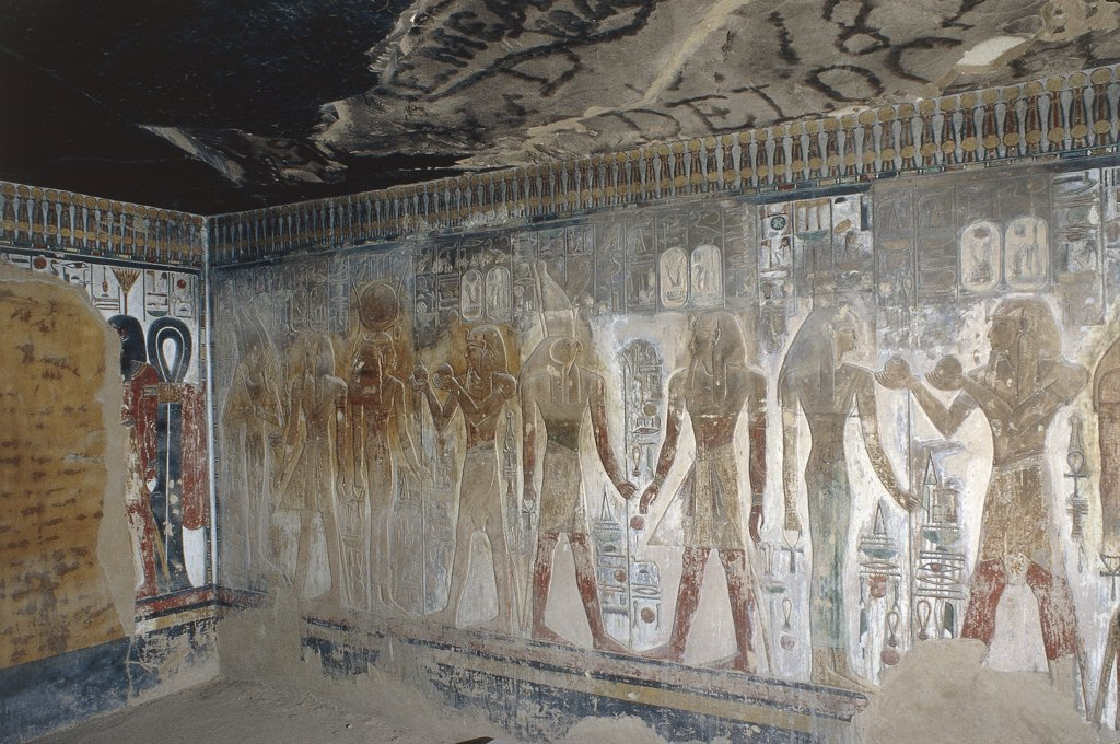 Egypt - Ancient Thebes (UNESCO World Heritage List, 1979). Valley of the Kings. Tomb of Seti I. Mural paintings : Stock Photo