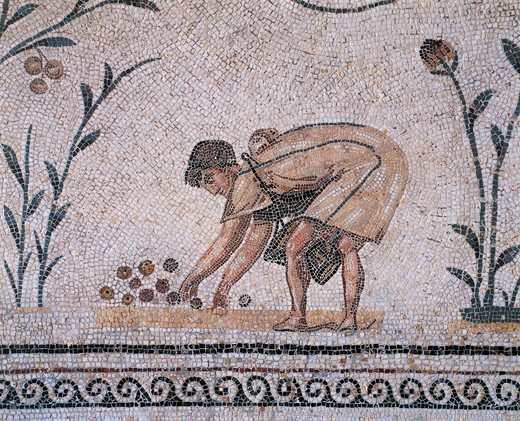 Stock Photo: 1788-19725 Tunisia, La Chebba, Mosaic depicting boy picking fruit, from Triumph of Neptune