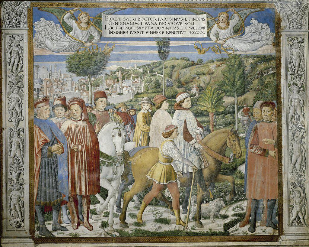Italy - Tuscany region - San Gimignano - Church of St. Augustine. Benozzo Gozzoli (c. 1421-1497). Histories of St. Augustine, detail of the Saint leaving Rome to go to Milan. Fresco (1465) : Stock Photo