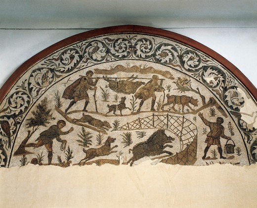 Stock Photo: 1788-19765 Tunisia, Carthage, Mosaic depicting boar hunting