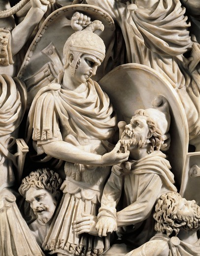Grande Ludovisi sarcophagus, front marble relief depicting battle between Romans and Ostrogoths, detail, fighting scene : Stock Photo