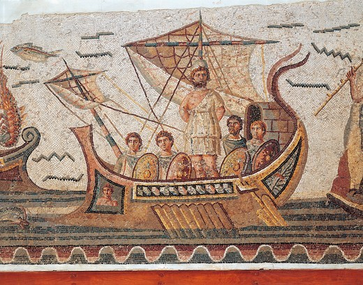 Mosaic depicting Ulysses and the Sirens' island from Thugga, Dougga, Tunisia, close-up : Stock Photo