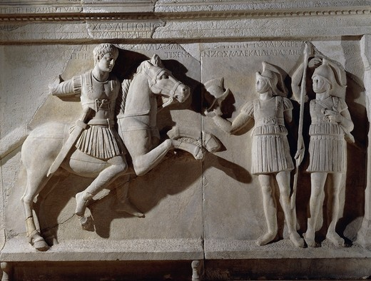 Stock Photo: 1788-19961 Marble sarcophagus of prefect Tiberius Flavius Miccalus, detail of prefect on horse and two soldiers of escort, from Kamaradere