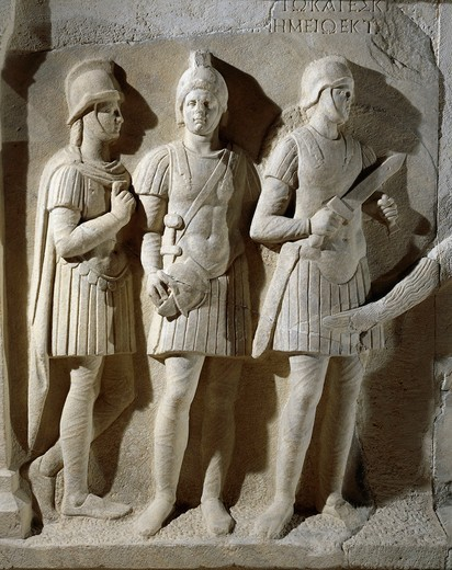Stock Photo: 1788-19963 Marble sarcophagus of prefect Tiberius Flavius Miccalus, detail of three soldiers of escort, from Kamaradere