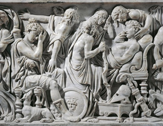 Marble sarcophagus with reliefs depicting Meleager's death, 180 a.d. circa, detail of Meleager on his deathbed : Stock Photo