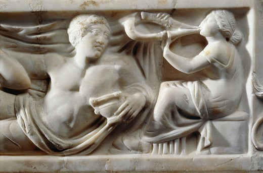 Stock Photo: 1788-20002 Marble sarcophagus with relief depicting legend of Triptolemus, detail of musician at banquet